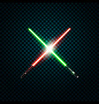 realistic light swords crossed lightsabers flash vector image vector image