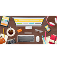 Realistic set of workspace elements concept banner vector image vector image