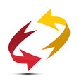 red and yellow arrows spinning in circle double vector image vector image