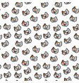 seamless cute pixel cat head pattern vector image vector image