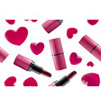 seamless lipstick and hearts vector image vector image