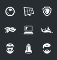 set military intelligence icons vector image vector image