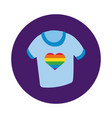 shirt with heart gay pride block style vector image vector image