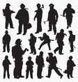 silhouettes fireman vector image vector image