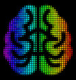 spectral colored dotted brain icon vector image vector image