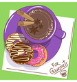 with cup of hot chocolate and donuts vector image