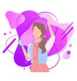 woman enjoying music from headphones mp3 vector image