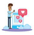 young man and social networks vector image