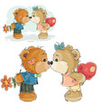 a pair of brown teddy bears vector image vector image