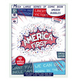 america first comic book style poster vector image vector image