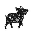 black white pig for chinese vector image