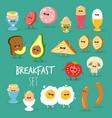 breakfast bread pear tomato mushroom vector image