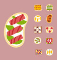 breakfast toast set slices toasted crust sandwich vector image vector image