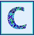 C - letter - Green Watercolor mosaic vector image vector image