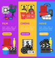 cartoon cinema color banner vecrtical set vector image vector image