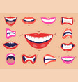 cartoon cute mouth expressions facial gestures set vector image