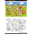 cartoon funny puppies group coloring book page vector image vector image