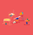 chinese food concept male and female characters vector image