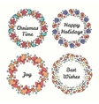 Christmas Wreath Set Line Style Winter Collection vector image vector image
