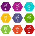 cocktail icons set 9 vector image