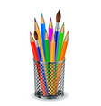 colorful pencils and brushes in holder vector image vector image