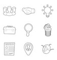 command icons set outline style vector image