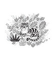 contour print tiger in tropical leafs black and vector image