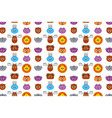 cute animals faces seamless pattern cat dog vector image vector image