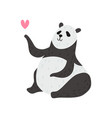 cute panda bear with pink heart happy lovely vector image vector image