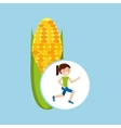 girl jogger corn cob healthy lifestyle vector image vector image