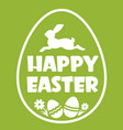 happy easter egg silhouette with text and rabbit vector image vector image