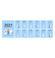 happy new year 2021 a4 calendar template vector image vector image