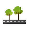 isolated tree on highway cartoon vector image vector image