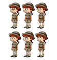 little girl in safari outfit with different vector image vector image