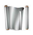 metal foil paper roll close up top view vector image vector image