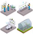 modern greenhouse isometric icon set vector image