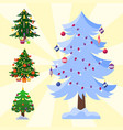 pine tree cartoon green winter holiday vector image