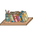 row of books on shelf vector image vector image