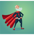 senior adult man in super hero suit with red cape vector image