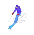 Skier goes down on mountain slope vector image