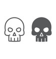 skull line and glyph icon halloween vector image