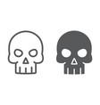 skull line and glyph icon halloween vector image
