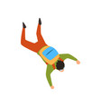 skydiver falling through the air with parachute in vector image vector image