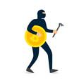 thief hacker dressed in dark mask running vector image