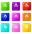 warning road sign set 9 vector image vector image