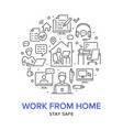 work from home circle poster with line icons vector image vector image