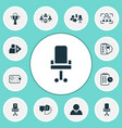 work icons set with self-organization employee vector image