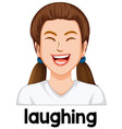 young girl laughing facial expression vector image