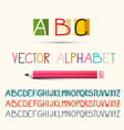 alphabet abc letters set with pencil vector image vector image