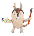armadillo with paint brush on white background vector image vector image